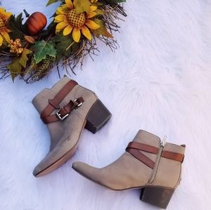 Coach Pauline Taupe Suede Leather strap booties
